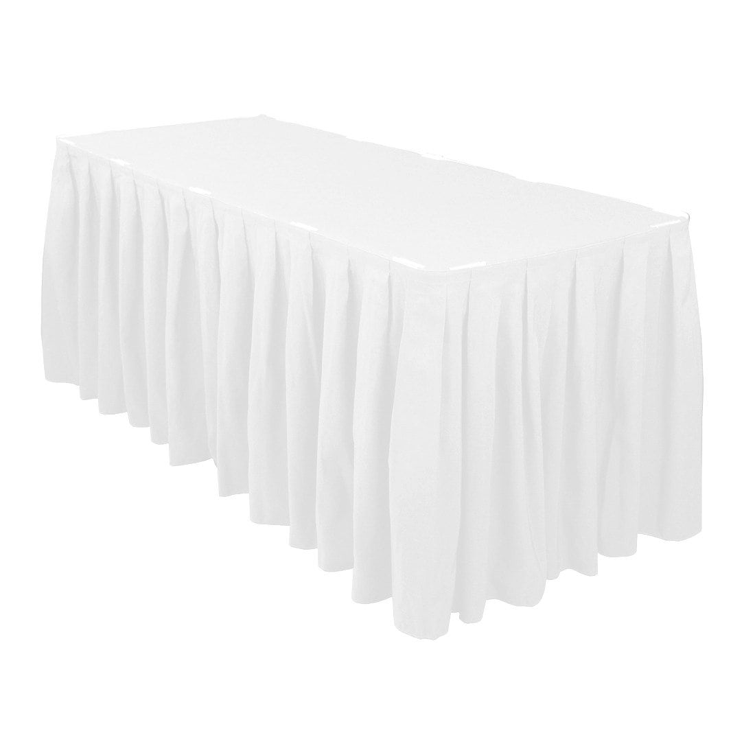 white table skirt 14′ poly 30 in height