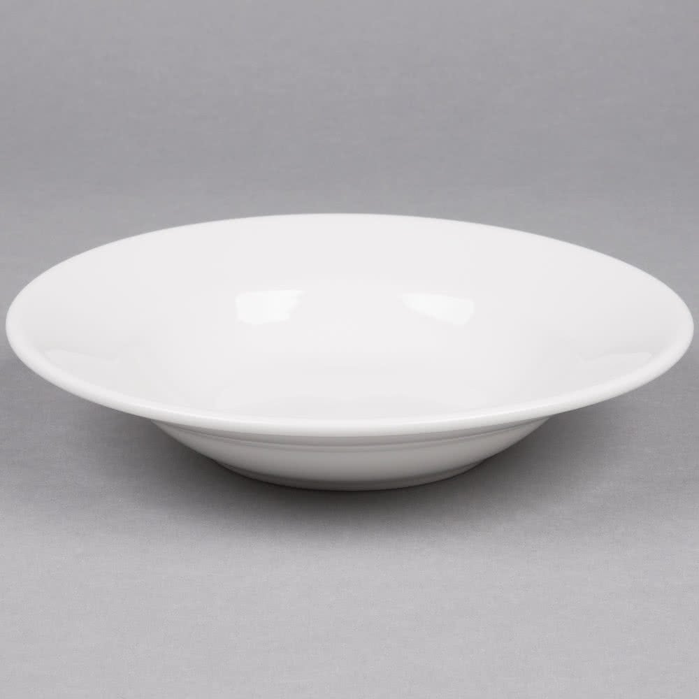 9 white rim soup pasta bowl