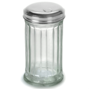 Sugar shaker, glass jar Stainless steel