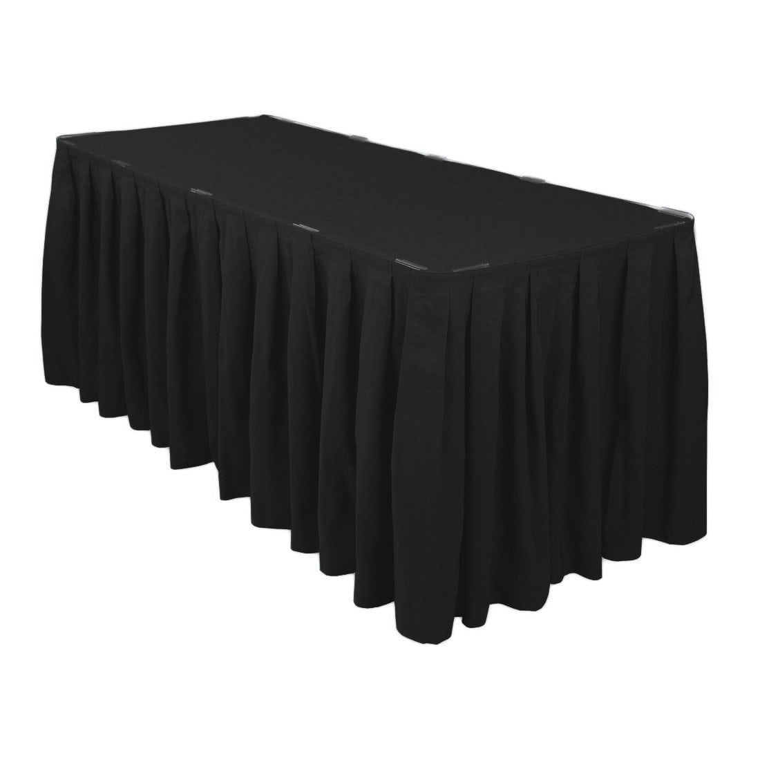 black table skirt 14′ poly 30in height