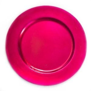 fuchsia round charger plate 13′