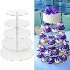 5 Tier Clear Acrylic Round Cupcake Stand - Wedding/Birthday Cake Display Tower
