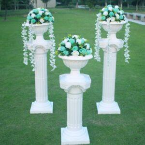 White Plastic Colums – Multi decorations