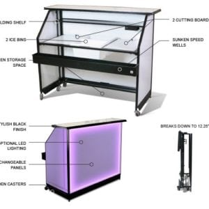 "Portable Bar with (8hrs battery) Multi LED lighting - 62.75""x 49.09""x 34.84"""