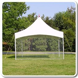 20' x 20' High Peak Tent With Clear Walls, Include Set Up & Take Down - Barrels for Tie Down Equipment is Extra