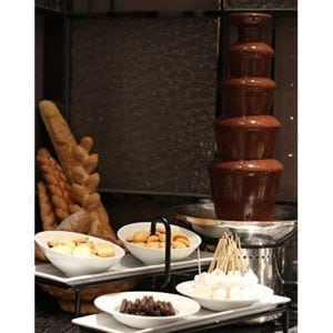 "Chocolate Fondue Fountain 27"" 5-Tier, Stainless Steel for Large Parties."